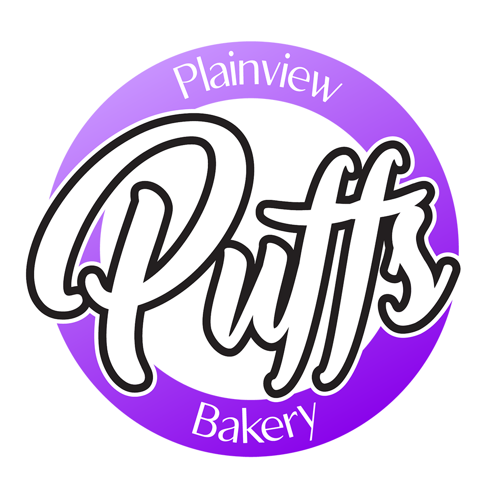 plainview puffs bakery logo designed by blue surge marketing agency